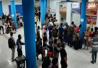 Suasana Terminal angkutan penumpang Bandara Raya Payung Sekaki (BRPS) Pekanbaru.