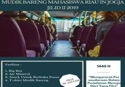 Mahasiswa Riau in Jogja Mudik Bareng Jilid II tahun 1440H/2019M.