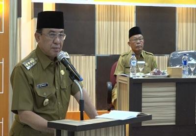 Bupati Kabupaten Inhil, HM Wardan beri sambutan saat membuka pelaksanaan bimbingan teknis Pemilihan Kepala Desa Serentak tahun 2019
