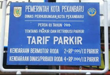 Tarif parkir Pekanbaru.