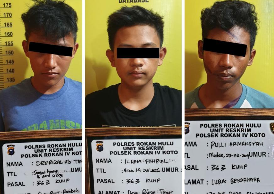 Dua pelajar dan seorang pemuda pengangguran, ditangkap Polisi karena diduga curi latpop, uang tunai dan HP di rumah warga.