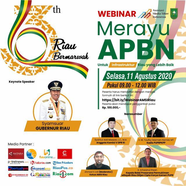 AMSI Riau akan menggelar seminar dalam jaringan bertema 'Merayu APBN untuk Infrastruktur Riau Lebih Baik'.