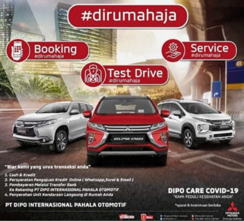 Mau test drive? #Dirumahaja! Tim Mitsubishi akan membawa unit test drive langsung ke rumah calon konsumen