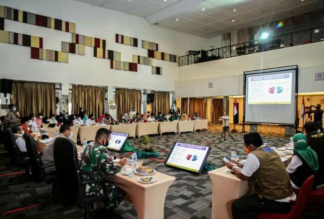 Rakor antisipasi penularan Covid-19 saat libur dan cuti bersama Maulid Nabi akhir Oktober ini, rapat dipimpin Gubernur Riau Syamsuar di Ballroom Hotel Grand Zuri Dumai,Jumat (23/10/2020).