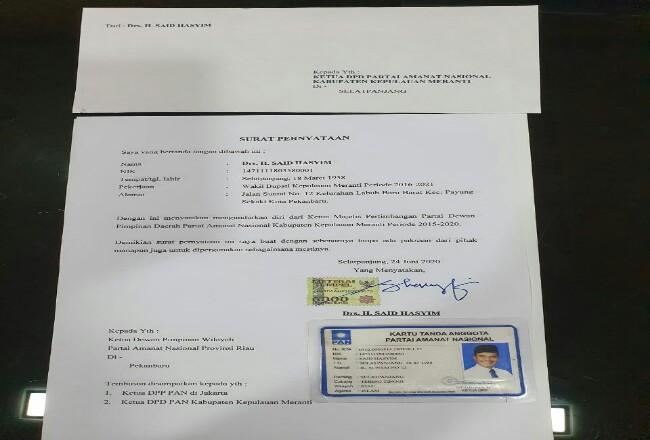 Surat pengunduruan diri Said Hasyim.