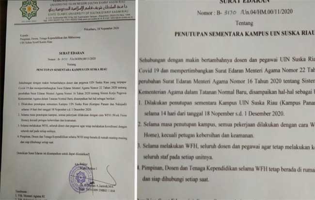 SE penutupan UIN Suska Riau.