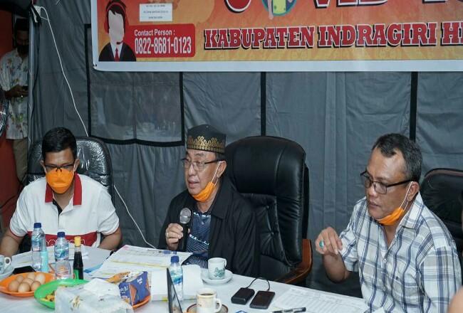 Bupati Wardan mengikuti rapat Gugus Tugas Percepatan Penanganan Covid-19 Kabupaten Inhil.