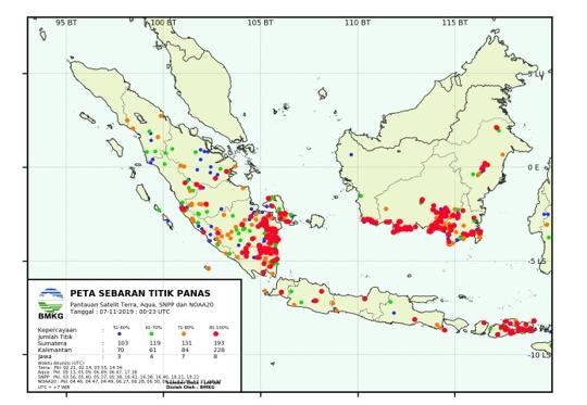 Sebaran Hotspot di Riau hari ini.
