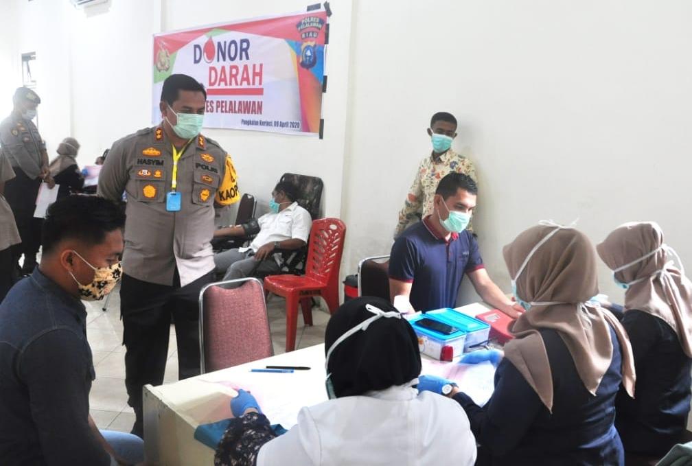 Kegiatan Donor Darah dipimpin langsung Kapolres Pelalawan AKBP Hasyim Risahondua S.IK,M.Si.