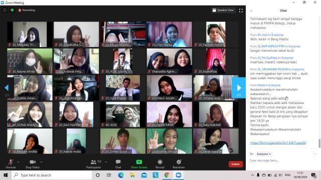 Kegiatan Pengenalan Kehidupan Kampus bagi Mahasiwa Baru Jurusan Biologi, Fakultas Matematika dan Ilmu Pengetahuan Alam, Universitas Riau, Kota Pekanbaru (18/9/2020)