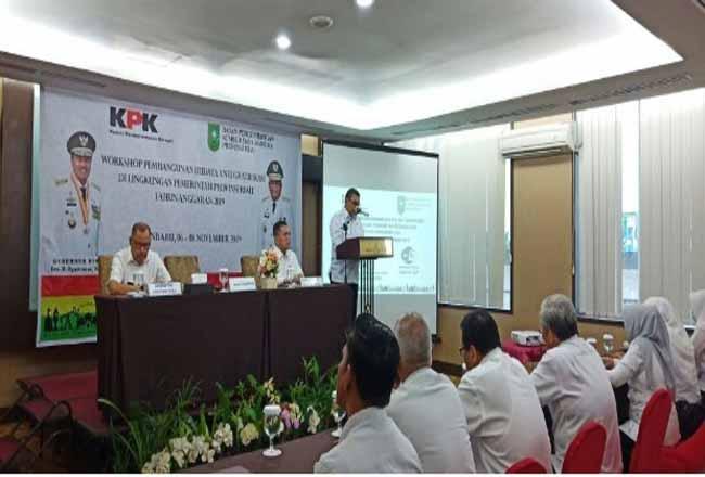 Wagubri Edy Natar Nasution saat menghadiri Workshop Pembangunan Budaya Anti Gratifikasi di lingkungan Pemprov Riau.
