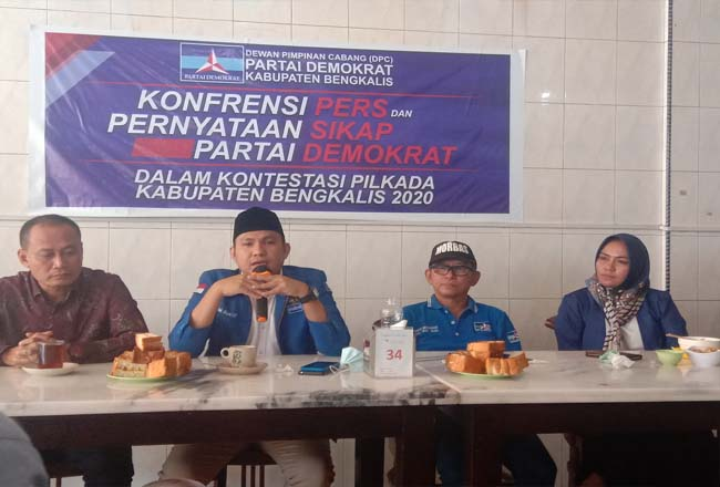 Konferensi pers yang digelar DPC Partai Demokrat Bengkalis, Rabu (15/7/2020).