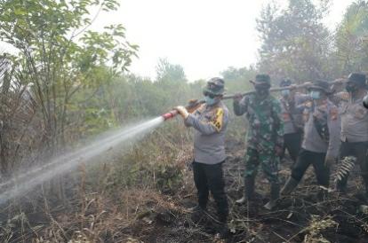 Kapolda Riau ikut berjibaku memadamkan api