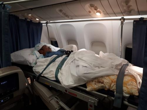 Salah seorang jamaah haji yang dirawat dipulangkan ke Tanah Air. FOTO:Okezone