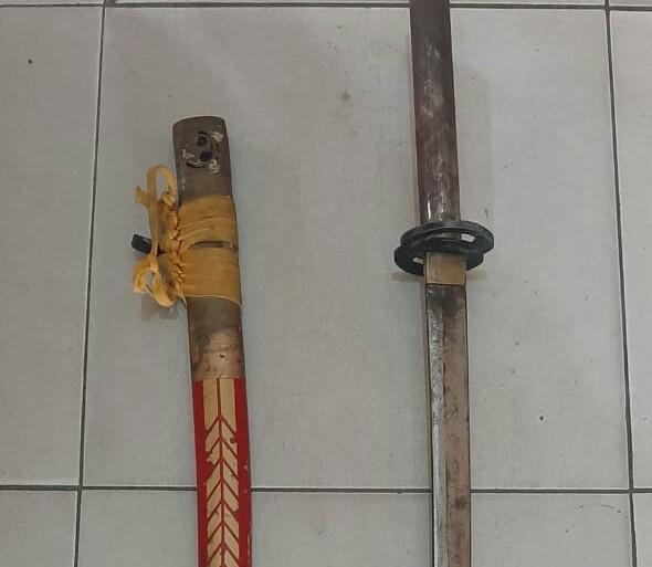 Senjata yang berhasil diamankan Polsek Tambusai Utara.