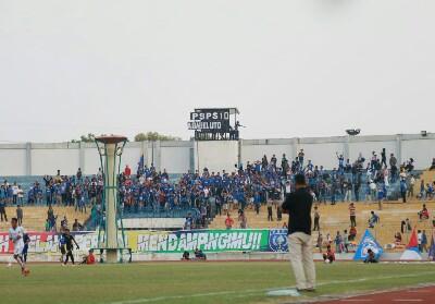 Papan skor yang dirubah pendukug PSPS Riau.