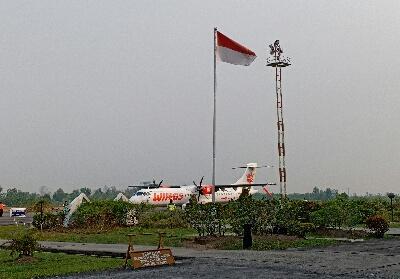 Pesawat Wings Air di Bandara Pinang Kampai Dumai.