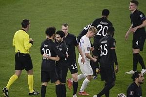 Para pemain timnas Jerman merayakan kemenangan 3-0 atas Islandia di laga Kualifikasi Piala Dunia 2022 yang berlangsung di Duisburg, Jerman, pada Jumat (26/3/2021) dini hari WIB.(AFP/TOBIAS SCHWARZ)