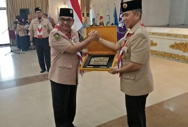 Pelantikan Ketua Kwartir Daerah Riau periode 2019 - 2024, Kamis (6/2/2020) siang di Balai Serindit.