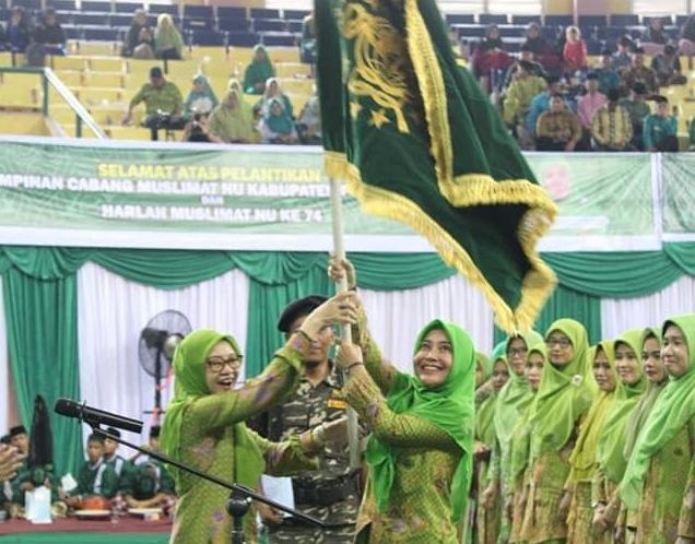 Sewitri SE resmi dilantik sebagai Ketua Muslimat NU Kabupaten Pelalawan di Gor Pengeran Pangkalan Kerinci, Kamis (5/3/2020).