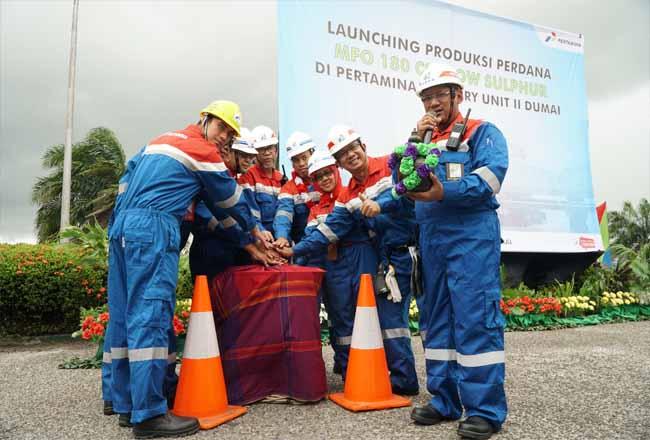 Pertamina Dumai launching produksi perdana MFO 180 cSt Low Sulphur di halaman kantor Oil Movement Kilang RU II Dumai.