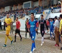Tim PSPS Riau saat akan bertanding pada Liga 2 Indonesia 2020. Foto Bayu