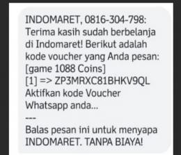 SMS diduga penipuan.