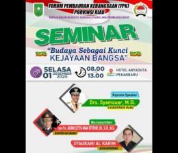 FPK taja seminar yang bertemakan Budaya Sebagai Kunci Kejayaan Bangsa.