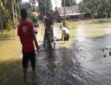Masyarakat Jorong Pancah, Kecamatan Rao Selatan, Pasaman, menggunakan rakit untuk melintasi kawasan pemukiman warga yang digenangi air setinggi paha orang dewasa. Foto : TribunPekanbaru