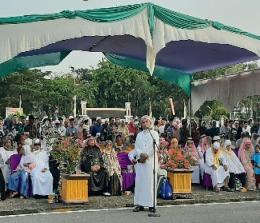 Susasana kedatangan jemaah haji kloter tiga Kabupaten Inhil.
