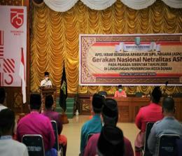 Walikota Dumai H Zulkifli As saat membuka acara ikrar gerakan nasional netralitas ASN pada pilkada serentak tahun 2020.